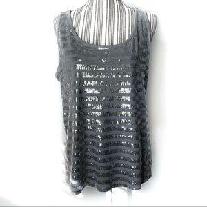 Lane Bryant sequin metallic top 14-16 silver gray